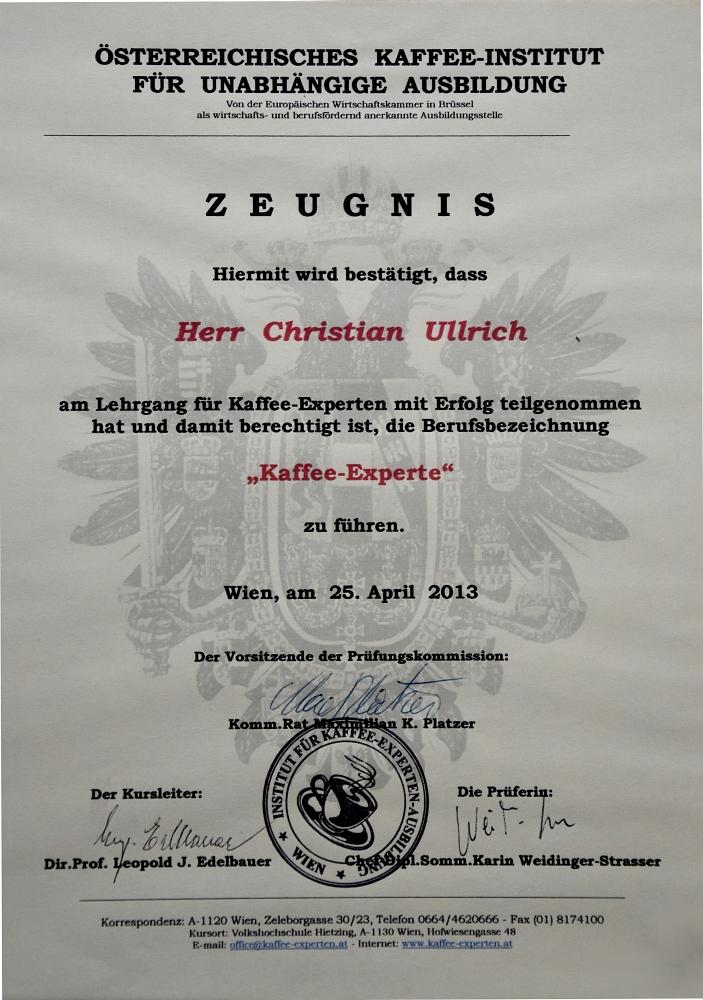 Geprüfter Kaffee-Experte (2013)