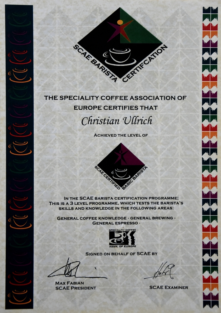 SCAE certified Barista Level 1 (2009)